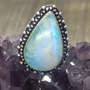 Natural Moonstone ring blue flash stamped 925 ring
